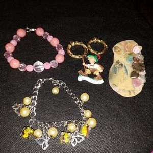 VINTAGE jewelry Lot Bracelets earrings & brooches